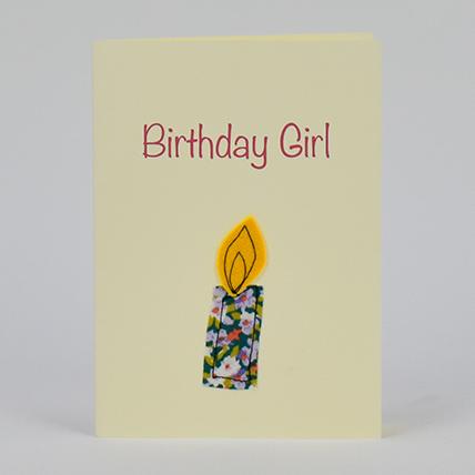 Birthday Girl Candle Handmade Greeting Card: Kids Gift Ideas