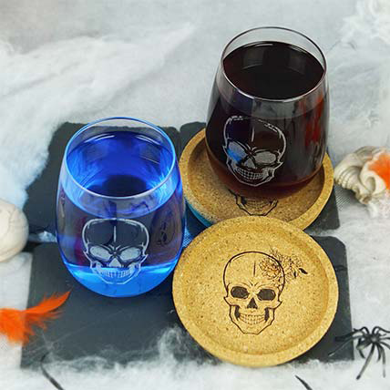 Skull Print Glass and Coasters Set: Halloween Gifts