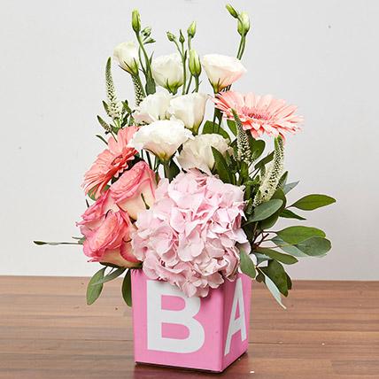 Vase Arrangement Of Pastel Flowers: Newborn Baby Gift Ideas
