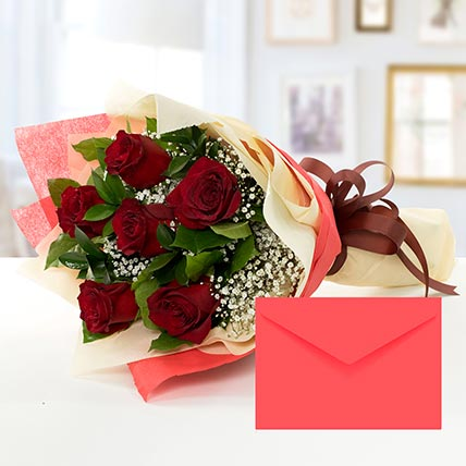 6 Red Roses Bouquet With Greeting Card LB: