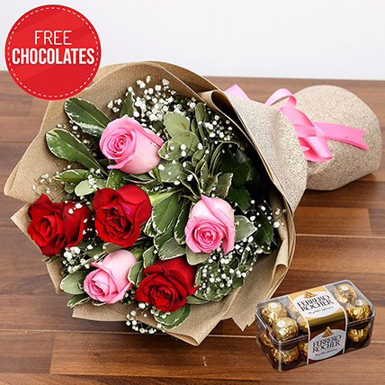 Pink And Red Roses With Free Chocolates: Flower Delivery Pakistan