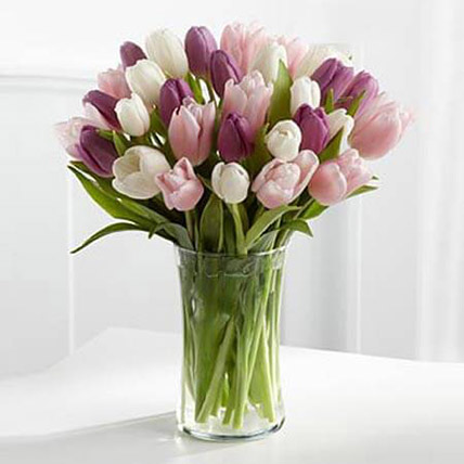 Painted Skies Tulip Bouquet QT: Send Gifts to Qatar