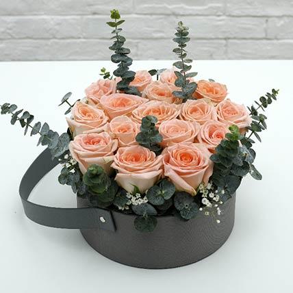 Light Pink Roses Basket: Send Flowers to Qatar