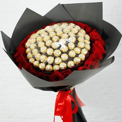 Red Roses & Ferrero Rocher Bouquet: