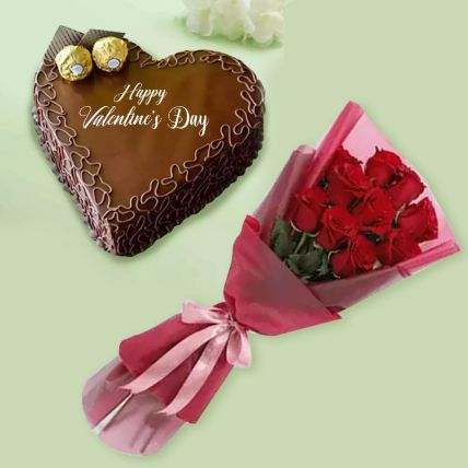 10 Red Roses & Heart Shape Chocolate Cake: