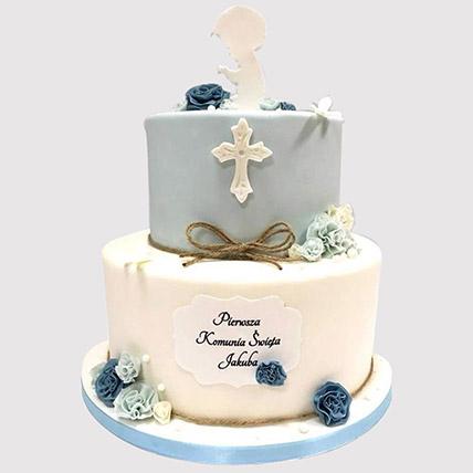 Blue And White Christening Cake: