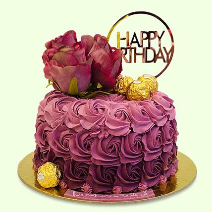 Rosy Birthday Cake: Cake Delivery in Saudi Arabia