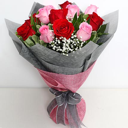 6 Pink And 6 Red Roses Bunch: