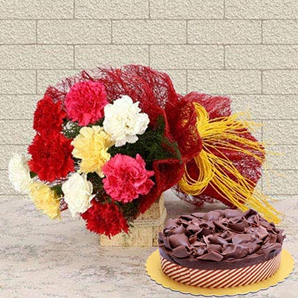 Beautiful Carnations & Choco Mousse Cake: Valentines Gifts Delivery in Saudi Arabia