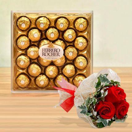 Ferrero Rocher Box & Love Roses Bunch: Saudi Arabia Gift Delivery