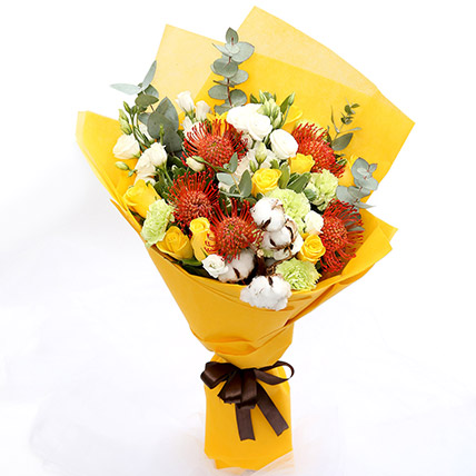 Sunshine Roses and Protea Flower Bouquet SG: Gift Delivery Singapore
