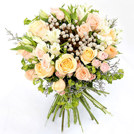 Beautiful Roses and Alstroemeria Hand Tied Bunch SG: Gift Delivery Singapore