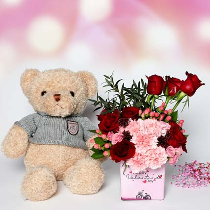 Valentines Flowers and Teddy: