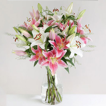Mixed Oriental Lilies Vase Arrangement: Flowers to UK