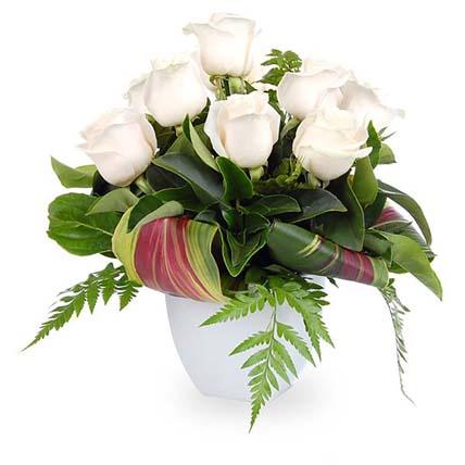 Layered Roses Arrangement In Ceramic Pot