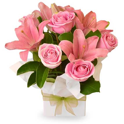 Pink Coloured Flowers Box Arrangement