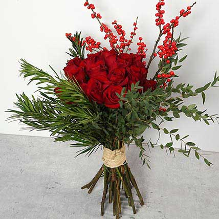 Red Roses and Ilex Berries Bouquet BH