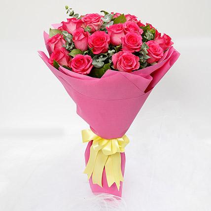 20 Dark Pink Roses Bouquet