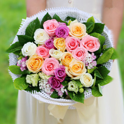 Colourful Summer Rose Bouquet