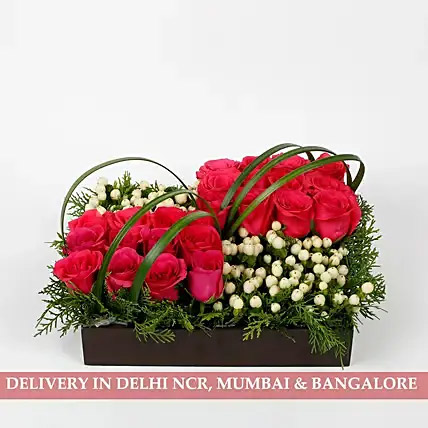 30 Pink Roses 13 Hypericum Berries Tray Arrangement