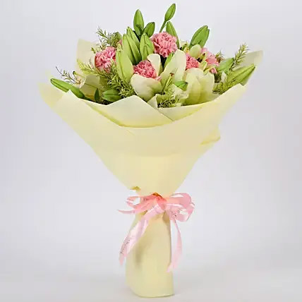Asiatic Lilies and Carnations Mixed Bouquet