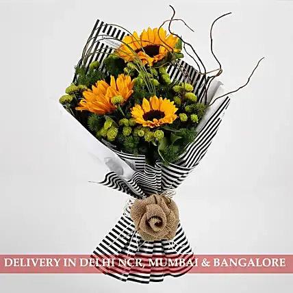 Beautiful Yellow Sunflowers Premium Bouquet