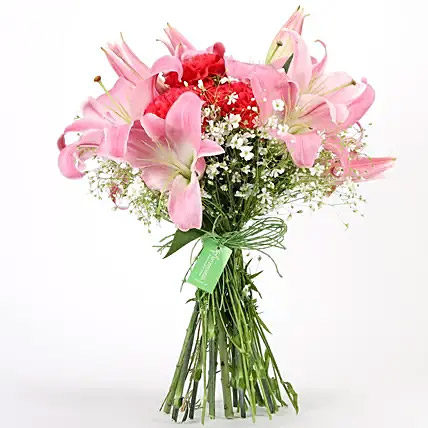 Carnations and Lilies Hand Tied Bunch