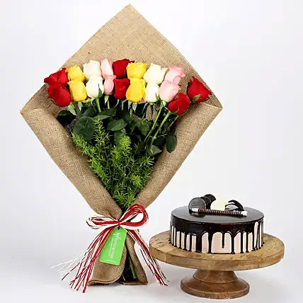 Mix Roses Bouquet and Choco Cream Cake Combo