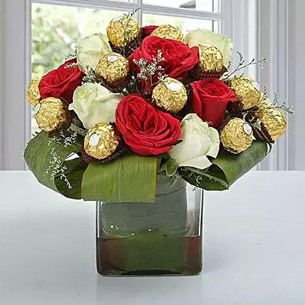 Roses and Ferrero Rocher in Glass Vase