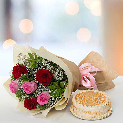Delightful Roses Bouquet With Butterscotch Cake JD