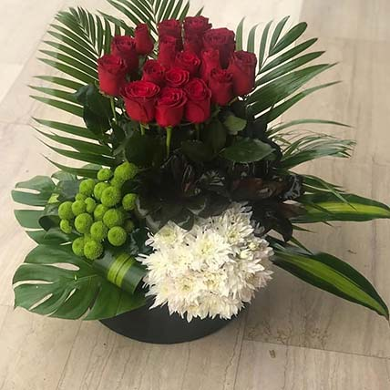 Red N White Flowers Arrangement
