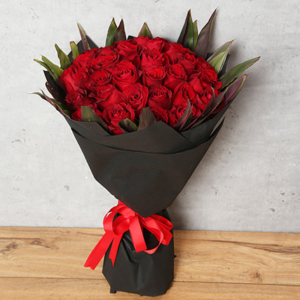 50 Red Roses Bouquet With Black Wrapping