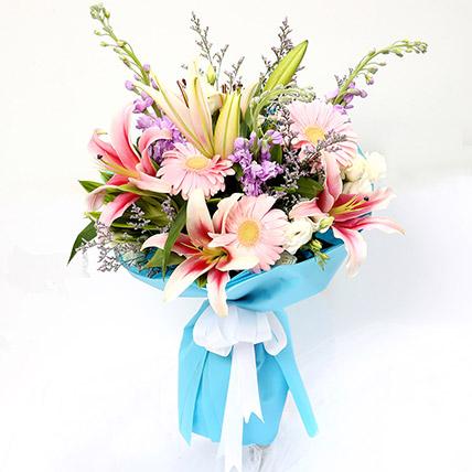 Kingdom Of Gerberas And Lavender Flower Bouquet