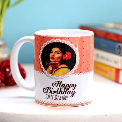 Personalised Joy and Love Birthday Mug
