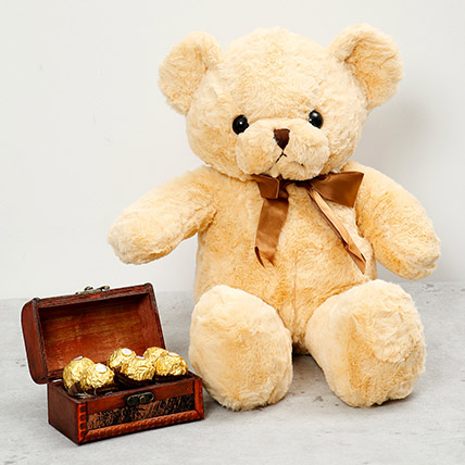 Brown Teddy Bear and Wooden Chocolate Box