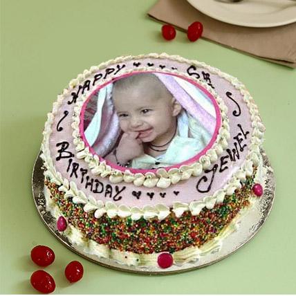 Enticing Photo Cake Eggless 3 Kg Vanilla Cake