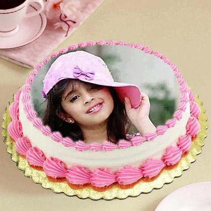 Heavenly Photo Cake Eggless 1 Kg Vanilla Cake