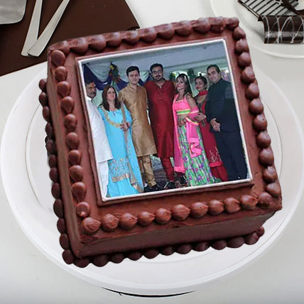 Square Photo Cake Eggless 1 Kg Black Forest Cake