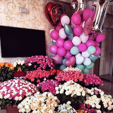 Vibrant Blooms and Balloons Magic
