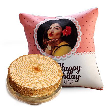 Joyful Birthday Cushion and Butterscotch Cake