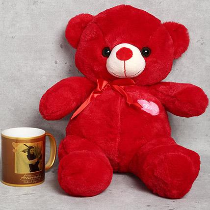Red Teddy Bear and Personalised Anniversary Mug Gift Set