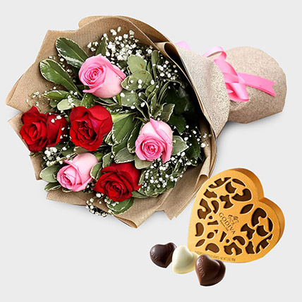 Pink and Red Roses With Godiva Chocolate Box