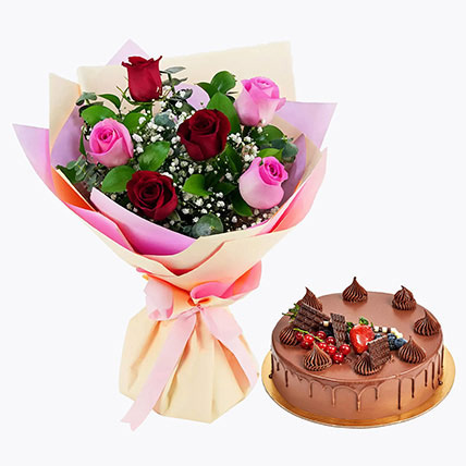 Pink Red Roses Bunch & Cake