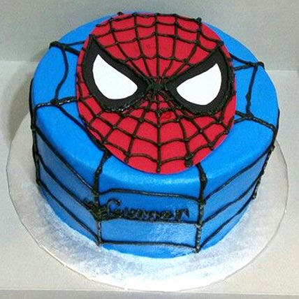 Blue and Red Vanilla Spiderman Cake
