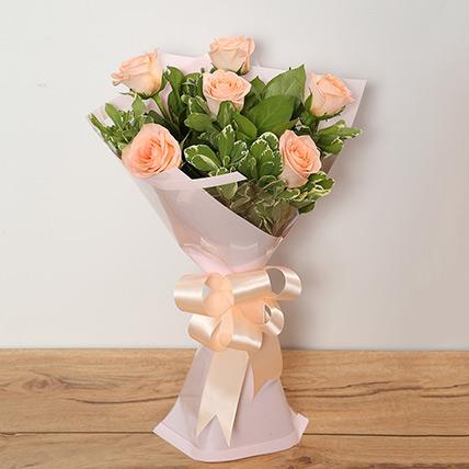 Bouquet Of Peach Roses LB