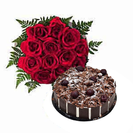 Dozen Roses with Blackforest Cake OM