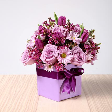 Purple Flowers Vase Arrangement OM