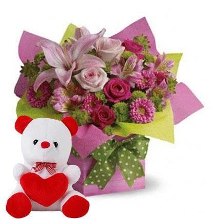 Mixed Flower Arrangement and Teddy Combo OM