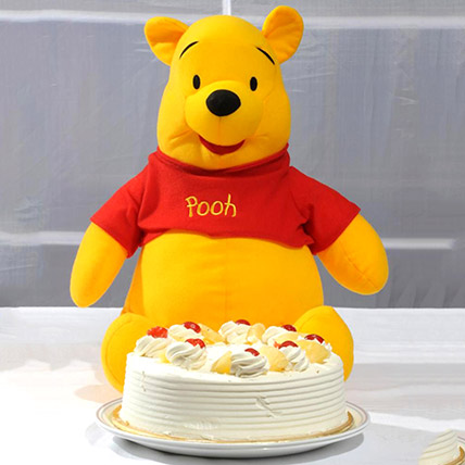 Pooh Soft Toy With Pineapple Cake