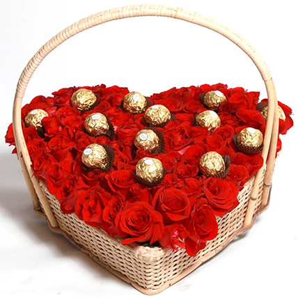 Red Rose And Ferrero Rocher Heart Basket